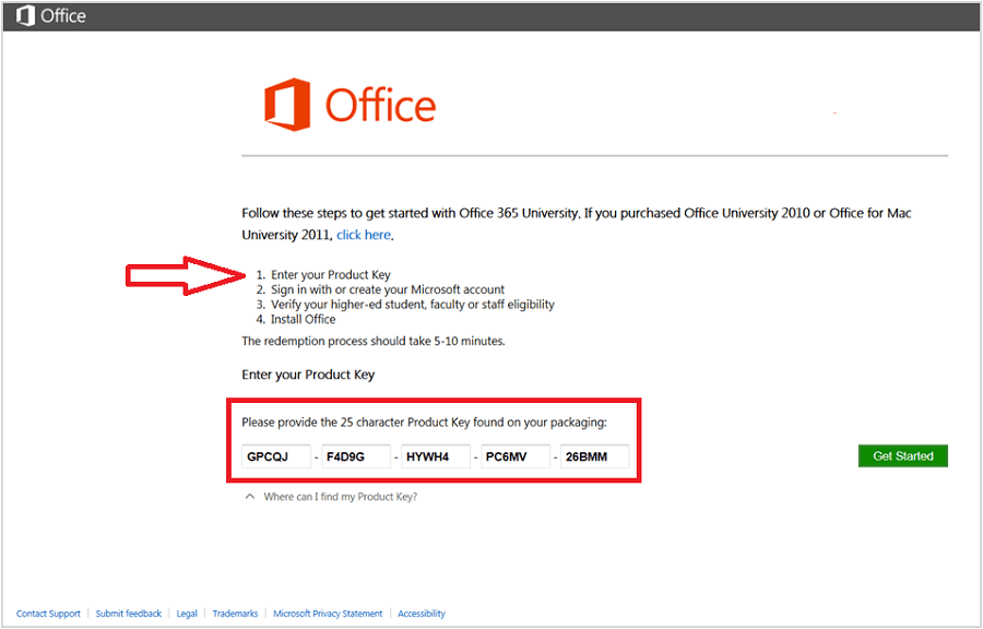 where to find office 365 product key