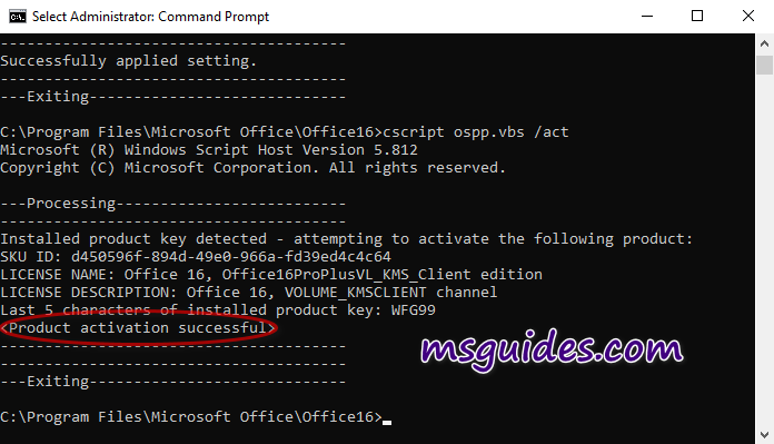 Use KMS client key to activate your Office