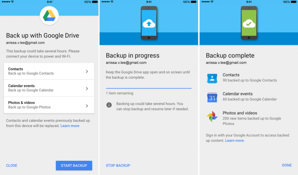 Backup iPhone to Google Drive