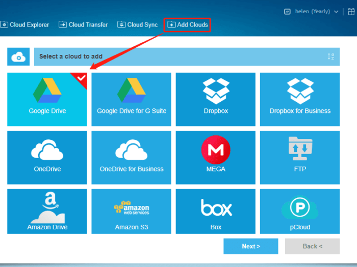 add your clouds to MultCloud